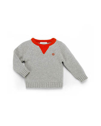 Cotton Crewneck Sweater, Gray