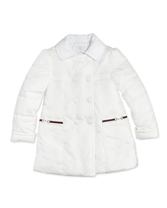 Nylon Double-Breasted Jacket, White, 0-36 Months