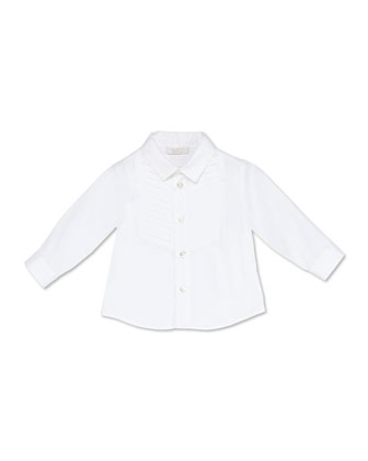 Stretch-Cotton Tuxedo Shirt, White, 3-36 Months