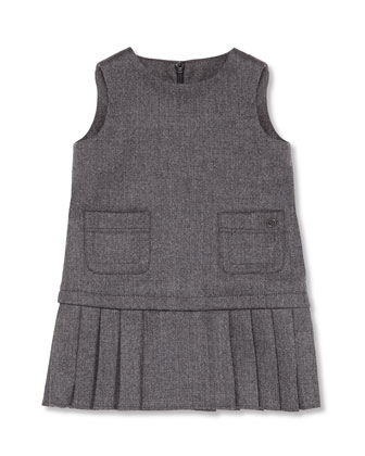Sleeveless Pleated Pocket Dress, Gray, Girls' 0-36 Months