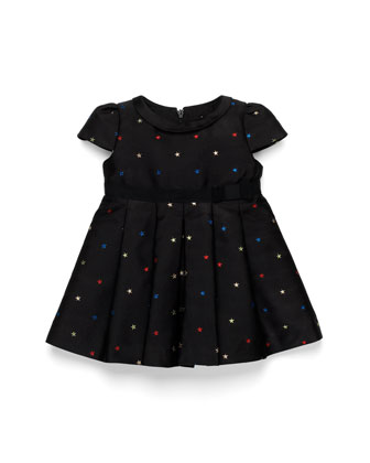 Star-Embroidered Dress, Black, Girls' 0-36 Months