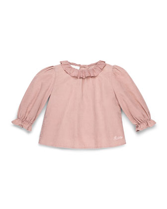 Long-Sleeve Cotton-Muslin Dress, Pink, Girls' 0-36 Months