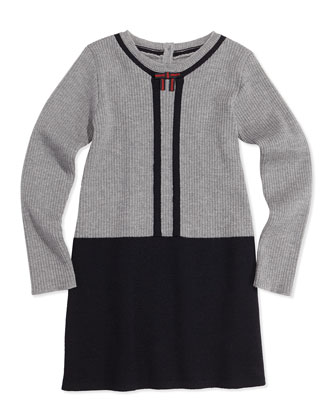Wool Contrast Long-Sleeve Dress, Gray, 0-36 Months