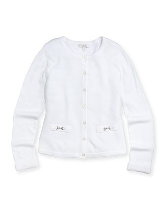 Knit Horsebit Cardigan, White, Girls'