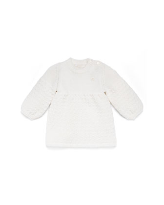 Long-Sleeve Knit Dress, White, Girls' 0-36 Months