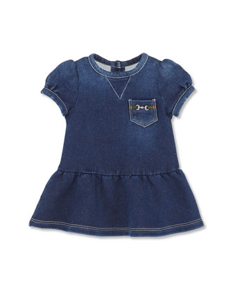 Short-Sleeve Denim Dress, Girls' 0-36 Months