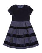 Velvet & Taffeta Party Dress, Girls' Navy, 2Y-14Y