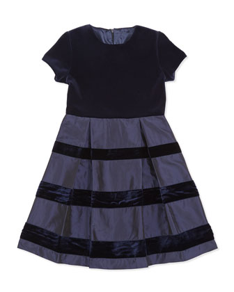 Velvet & Taffeta Party Dress, Girls' Navy, 2Y-14Y