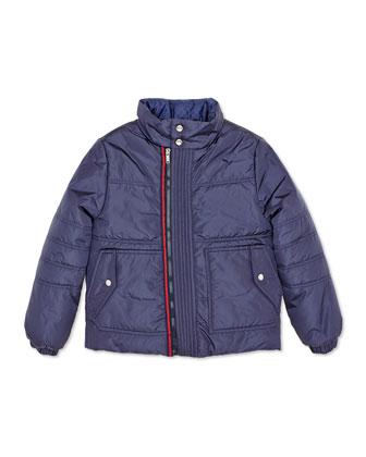 Zip-Front Puffer Jacket, Navy, 4-12