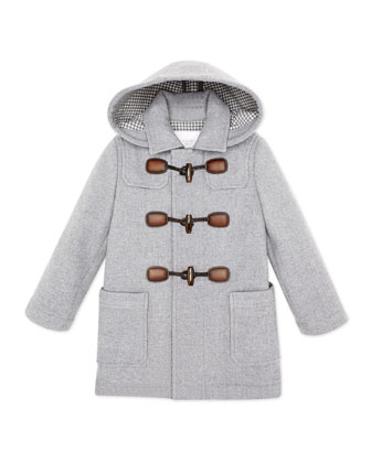 Hooded Wool-Blend Toggle Coat, Gray, Girls' Sizes 4-12