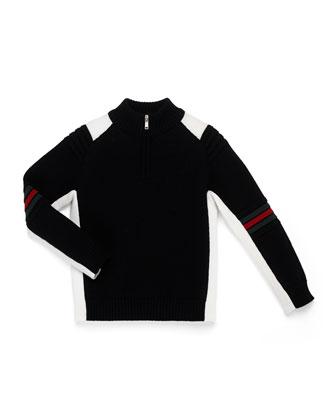 Zip-Mock-Neck Sweater, Black/White, Kids' 4-12