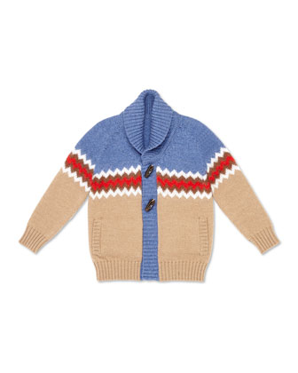Toggle-Button Colorblock Cardigan, Brown/Blue, Sizes 4-12