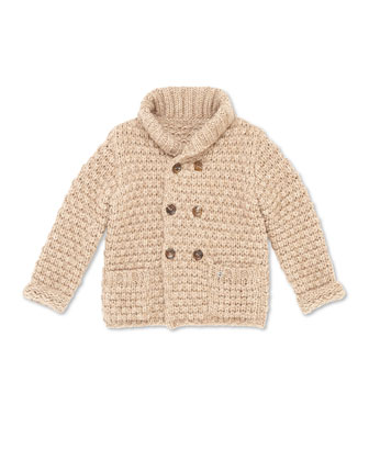 Knit Double-Breasted Jacket, Camel, Kids' Sizes 4-12