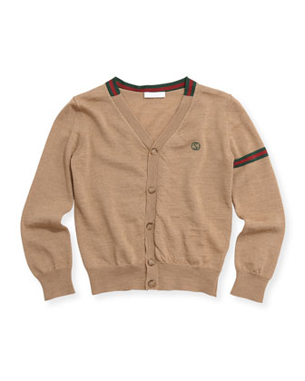 Web-Detail V-Neck Cardigan, Camel, Sizes 4-12