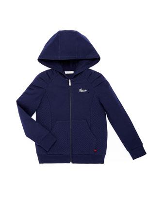 Stretch-Cotton Zip Hoodie, Blue, 4Y-12Y