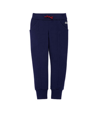 Stretch-Cotton Track Pants, Blue, 4Y-12Y