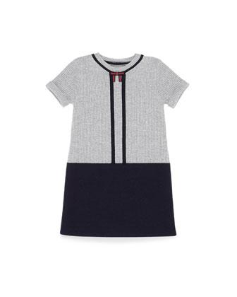 Short-Sleeve Wool Sweaterdress, Blue, Girls' 4-12