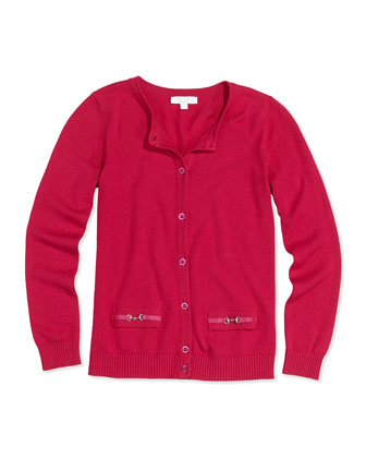 Knit Horsebit Cardigan, Fuchsia, Girls' 4-12