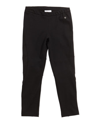 Stretch-Jersey Leggings, Black, Girls' 4-12