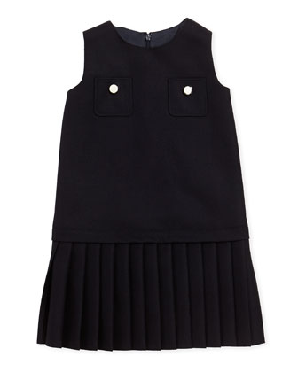 Pleated Pocket Dress, Navy, Sizes 4-12