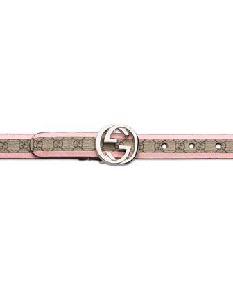 GG Plus Belt with Interlocking G Buckle, Pink, Girls' S-L