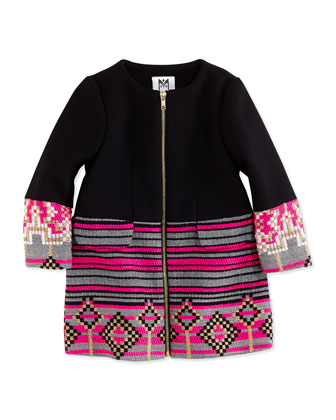 Geometric Jacquard Zip Coat, Black/Pink, Girls' Sizes 2-7