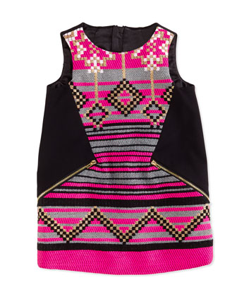 Jacquard Shift Dress, Black/Pink, Sizes 8-12