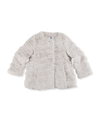 Sequin Faux-Fur Coat, Girls' 8-12