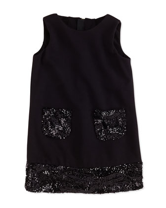 Combo Sequin Shift Dress, Black, Sizes 8-12