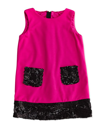 Girls' Sequin Trimmed Shift Dress, Pink/Black