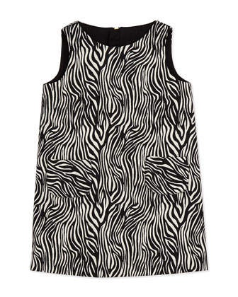Girls' Zebra Print Pocket Shift Dress