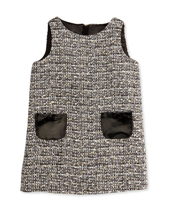 Metallic Tweed Shift Dress, Girls' 8-12