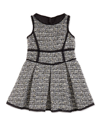 Girls' Metallic Tweed Scoop-Neck Dress