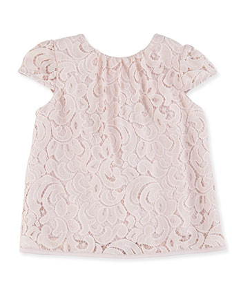 Floral Lace Cap-Sleeve Top, Girls' 2-7