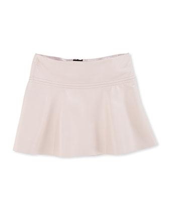 Emmy Faux-Leather Flare Skirt, Blush, Sizes 8-12