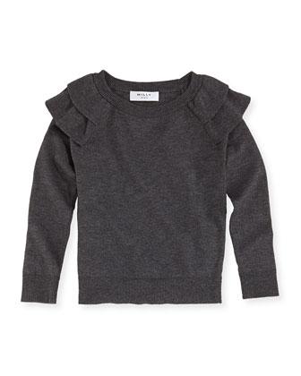Knit Ruffled Raglan Sweater, Sizes 8-12