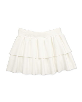 Knit Tiered Ruffle Skirt, White, Girls' 2-7