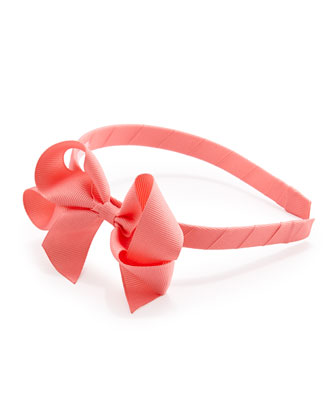 Grosgrain 3D-Bow Headband, Pink