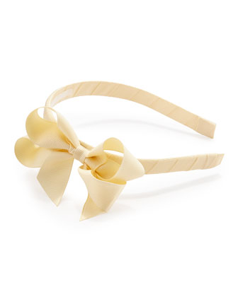 Grosgrain 3D-Bow Headband, Cream