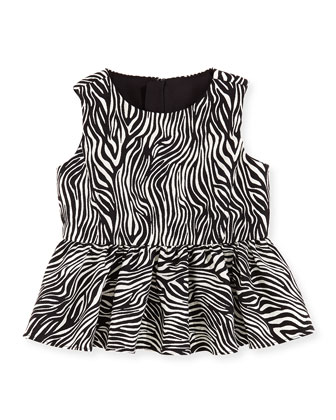 Zebra Peplum Top, Girls' 8-12