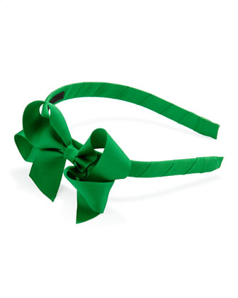 Grosgrain 3D-Bow Headband, Emerald