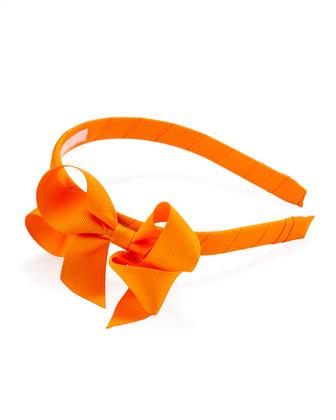 Grosgrain 3D-Bow Headband, Tangerine