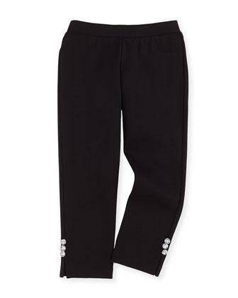 Ponte Rhinestone-Button Leggings, Black, Sizes 8-12