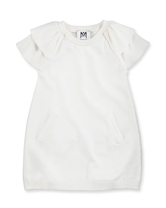 Ruffled Raglan Tunic Dress, White, Girls' 8-12