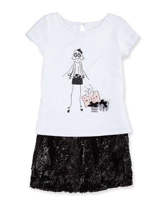 Wavy Sequin Miniskirt, Girls' 2-7