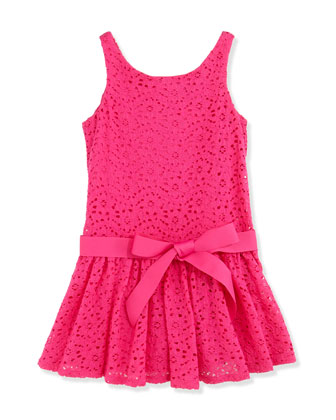 Girls' Floral Lace Sleeveless Dress, Regatta Pink