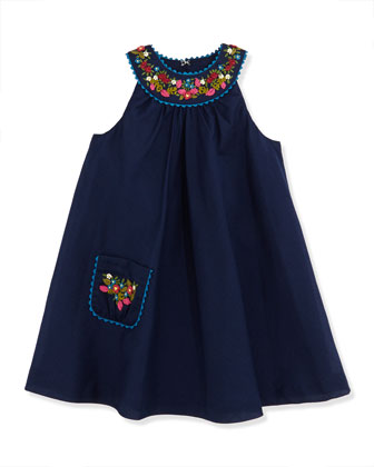 Girls' Floral Embroidered Batiste Dress, Newport Navy