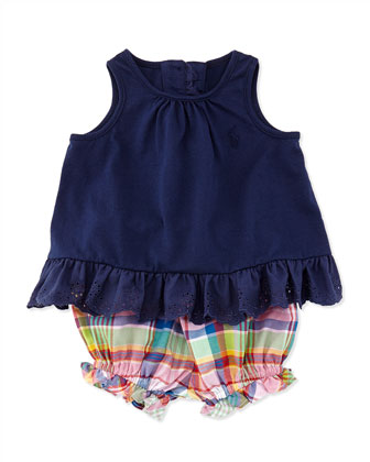 Enzyme Eyelet Trimmed Tunic & Plaid Bloomers Set, Newport Navy, Sizes 3-12 ...