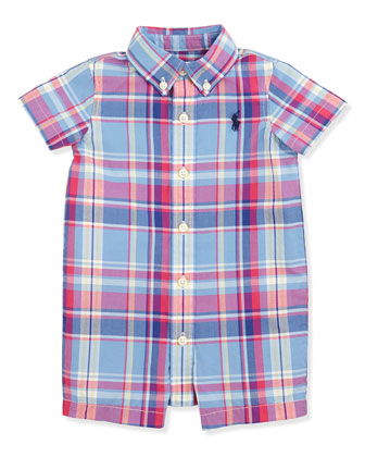 Multicolor Plaid Poplin Playsuit, Sizes 3-9 Months