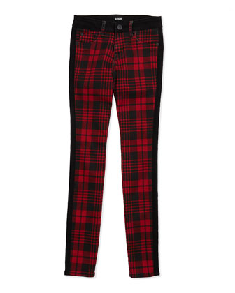Leeloo Skinny Plaid Denim Jeans, Red/Black, Girls' 4-6X